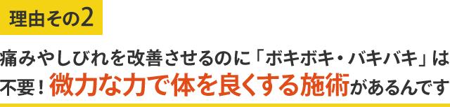 微力な力で体をよくする施術整体があるんです 痛みしびれを改善します 東大阪市瓢箪山